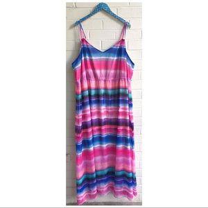 Lane Bryant Sunset Stripe Chiffon Maxi Dress